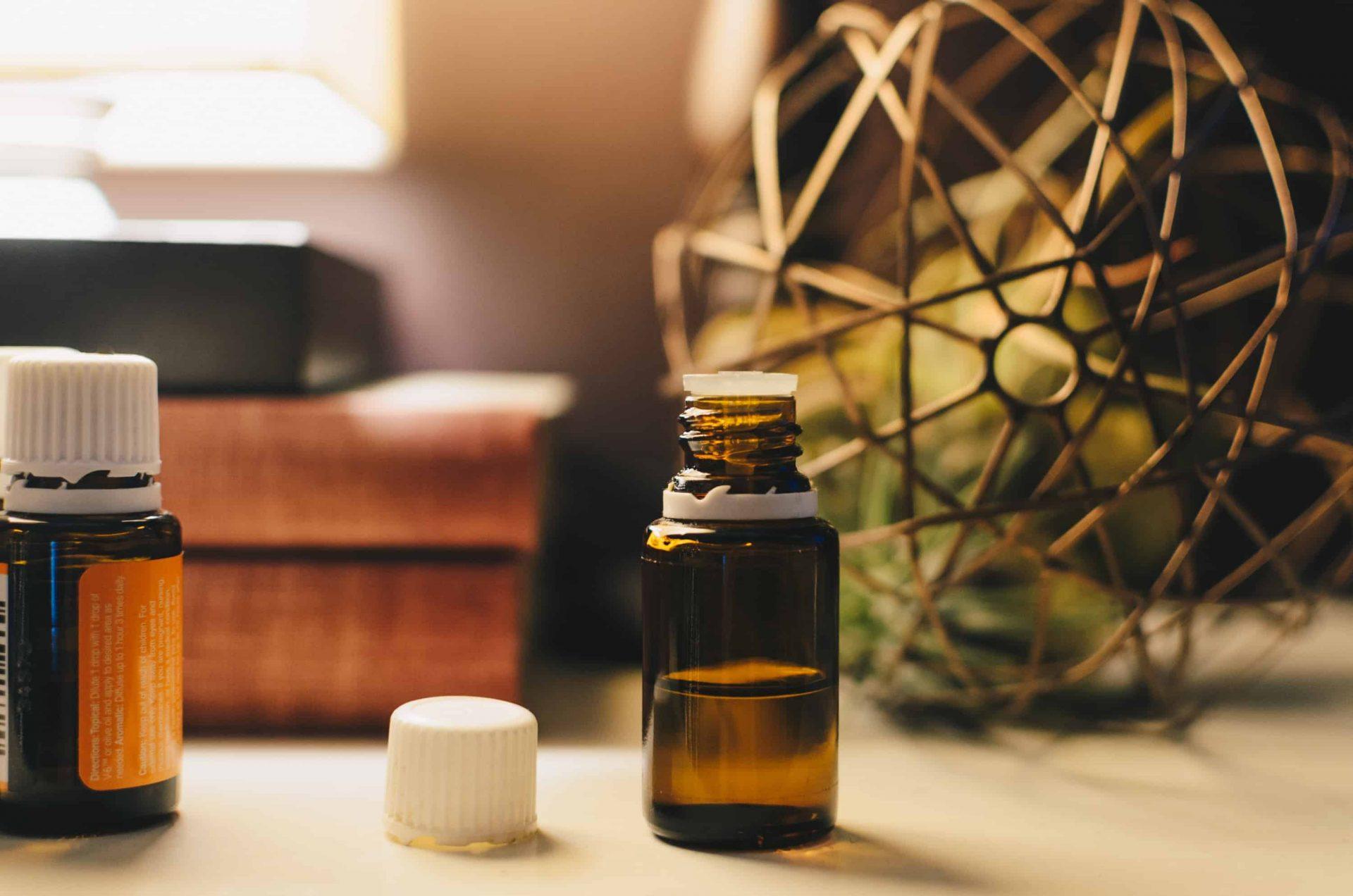 CBD oil in a bottle on a desk
