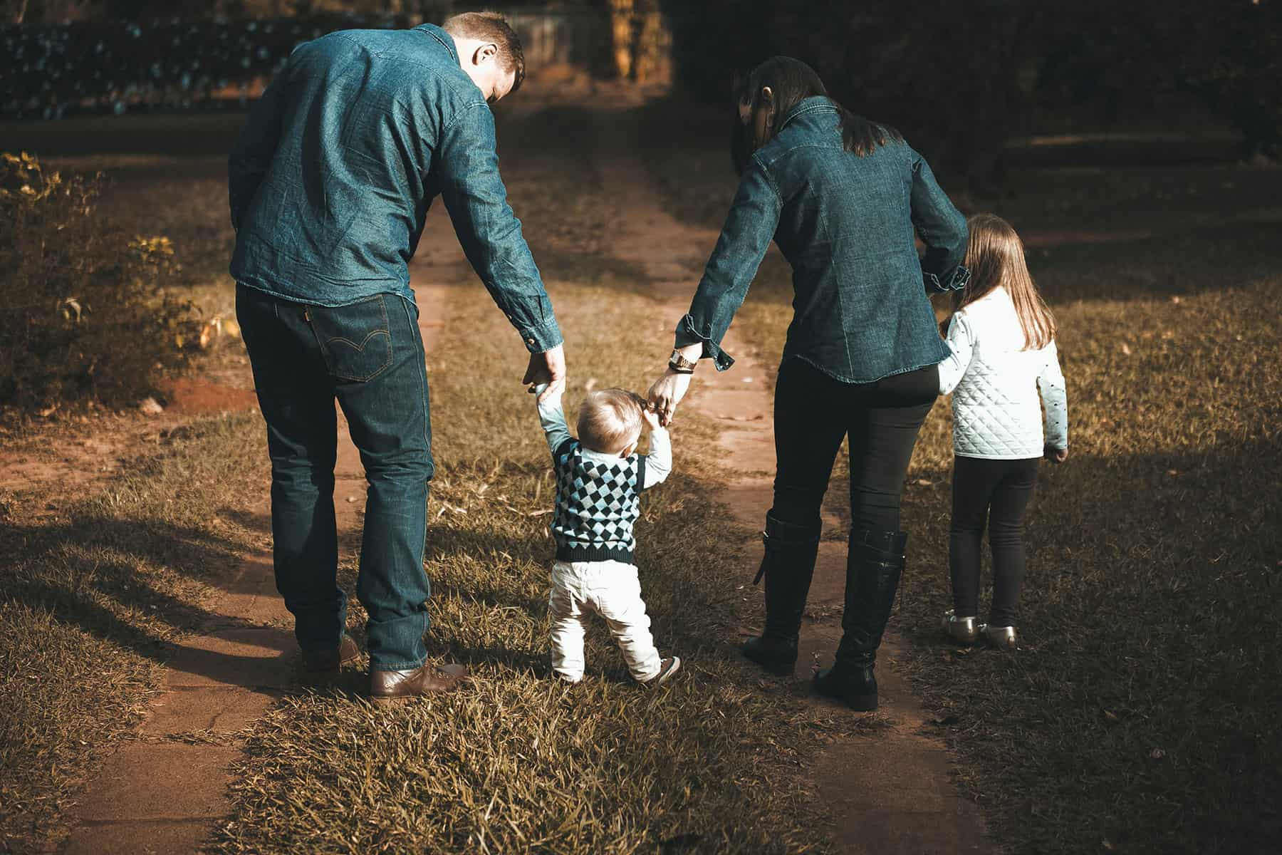 young family with autistic child