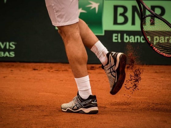 shot of professional tennis player in action