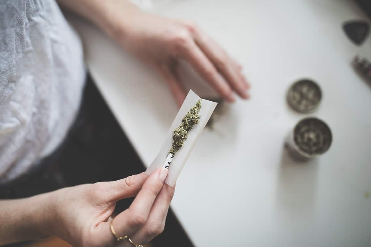 cannabis flower being rolled into a joint