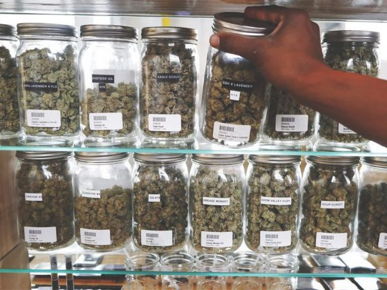 selection of cannabis in a dispensary
