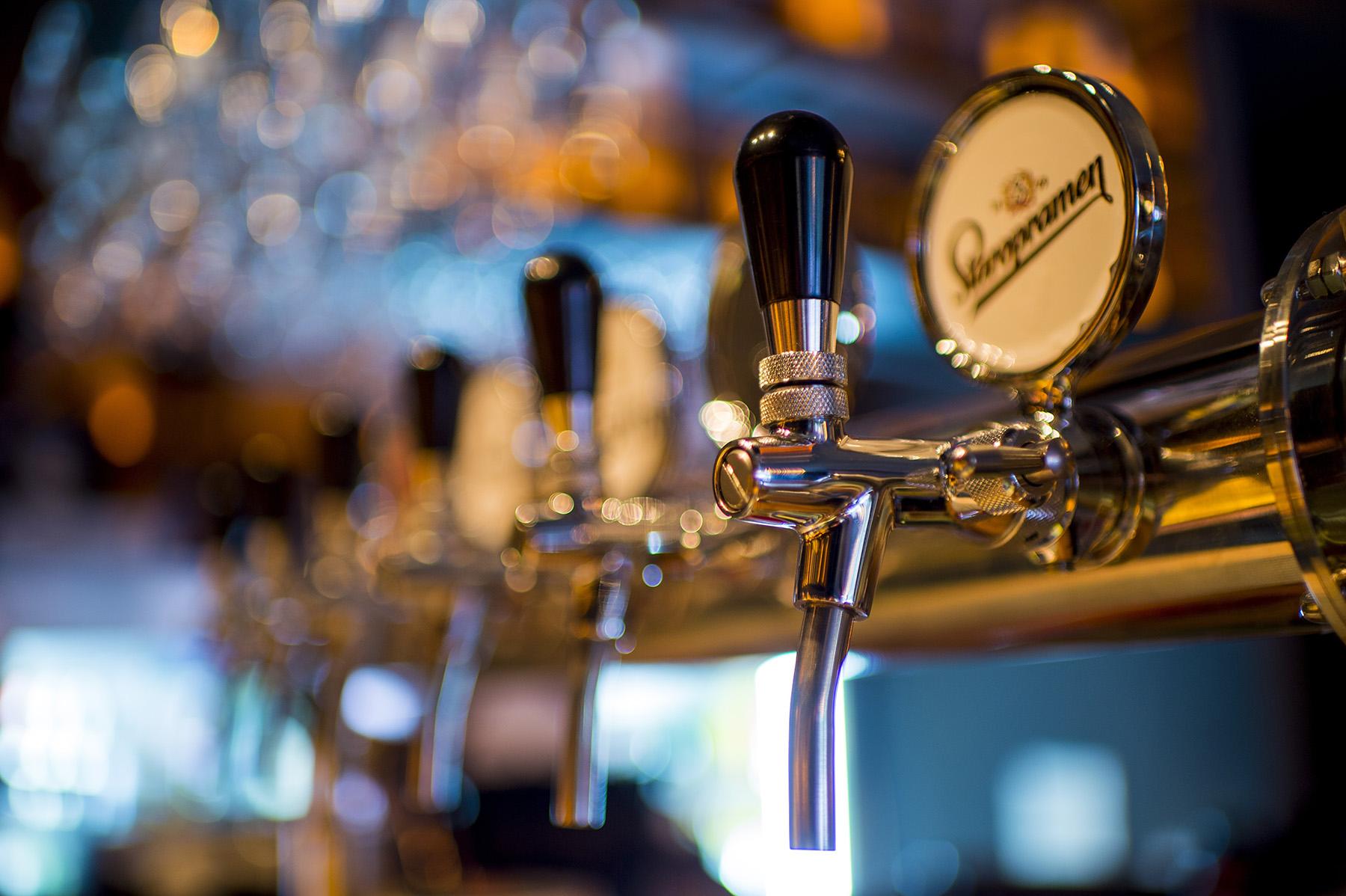 beer pumps in a bar