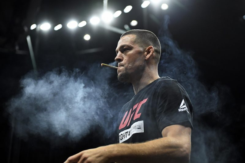 nate diaz smoking cannabis in a UFC arena
