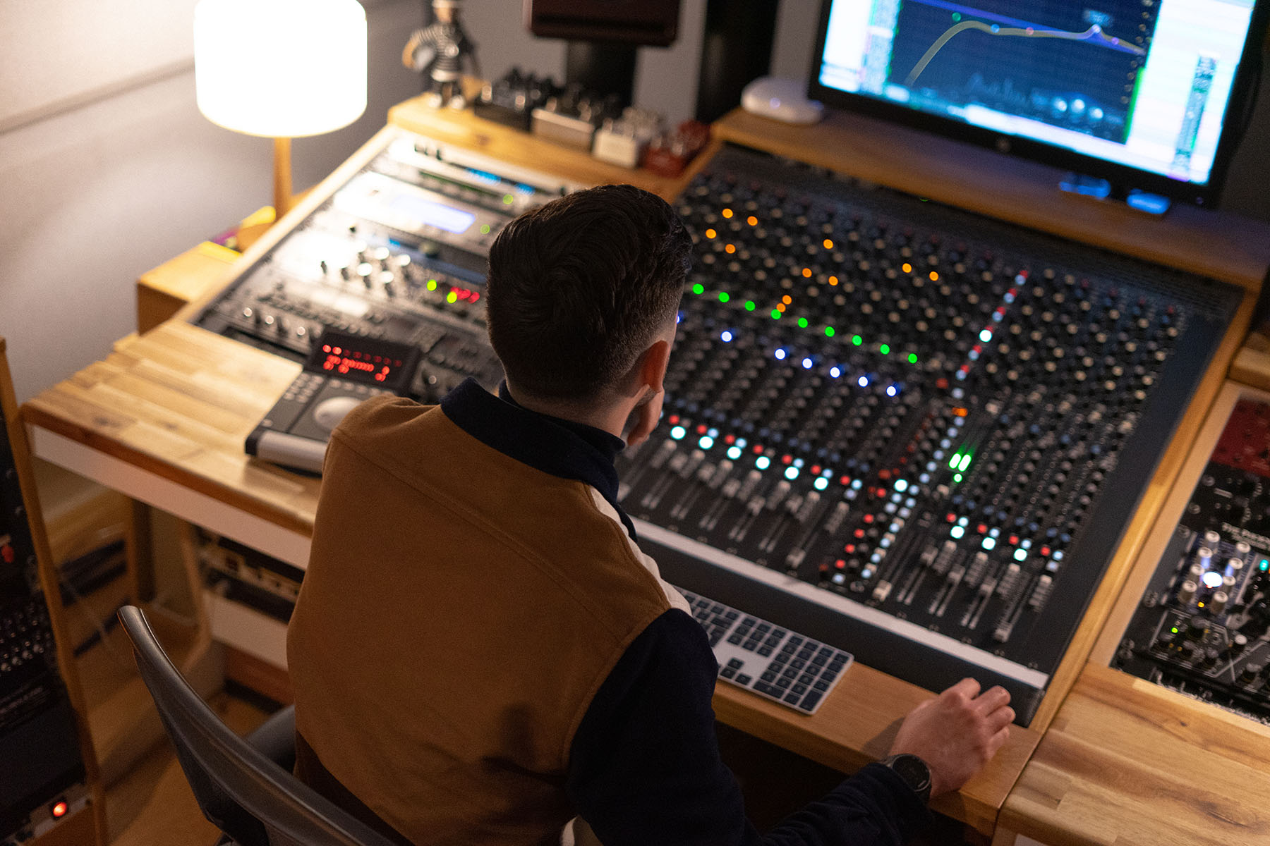 Josh Faulkner in a music studio
