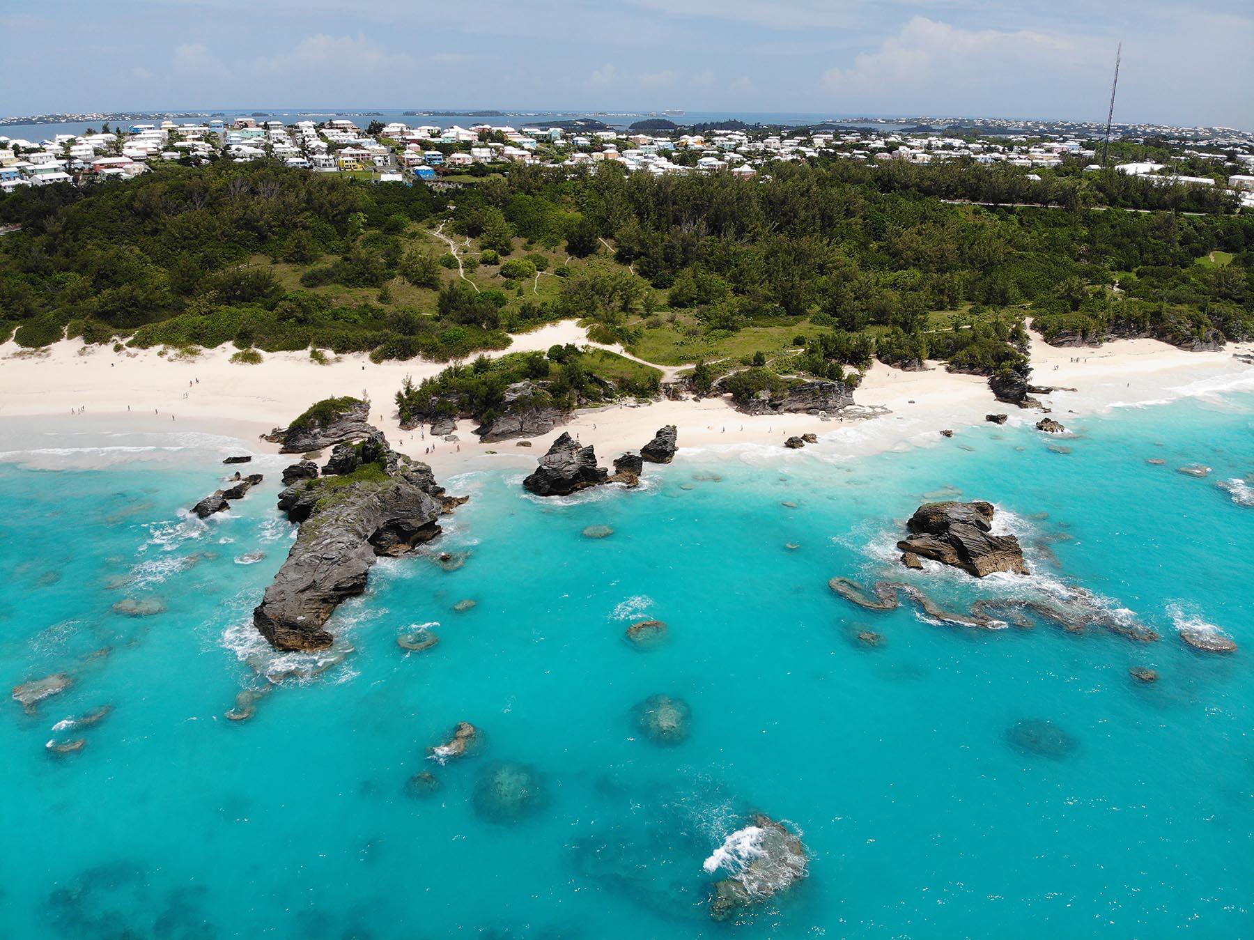beach in bermuda from above
