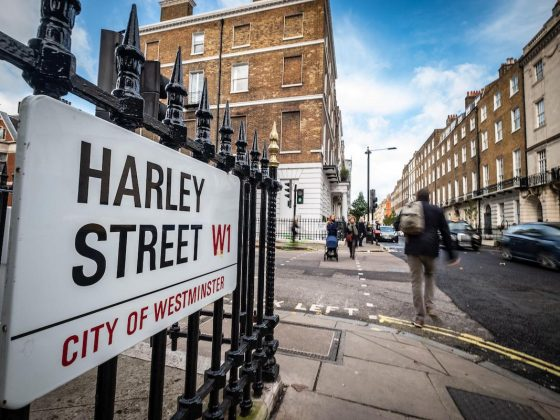 Harley Street London road sign