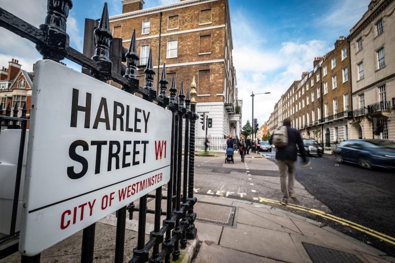 Harley Street London road sign
