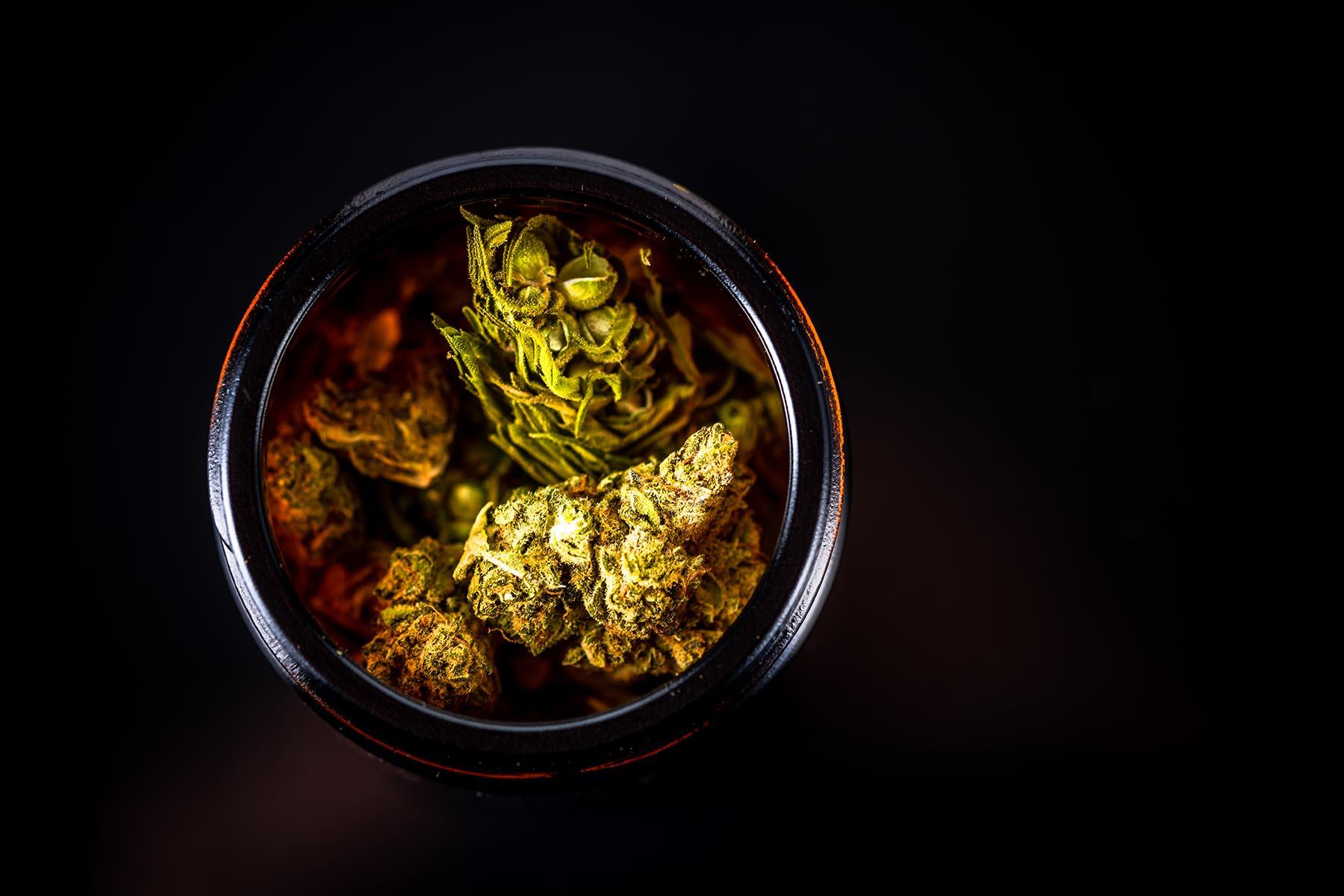Cannabis in Glass Jar