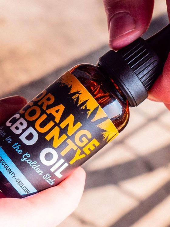 bottle of orange county CBD oil