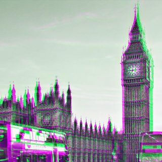 UK houses of parliament with a colourful effect overlay