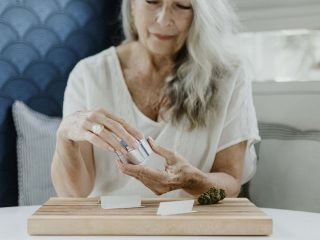 mature woman with cannabis