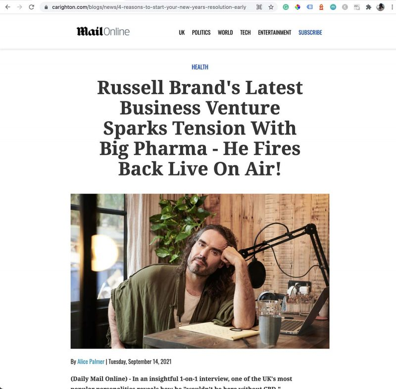 screenshot of fake CBD endorsment by russell brand