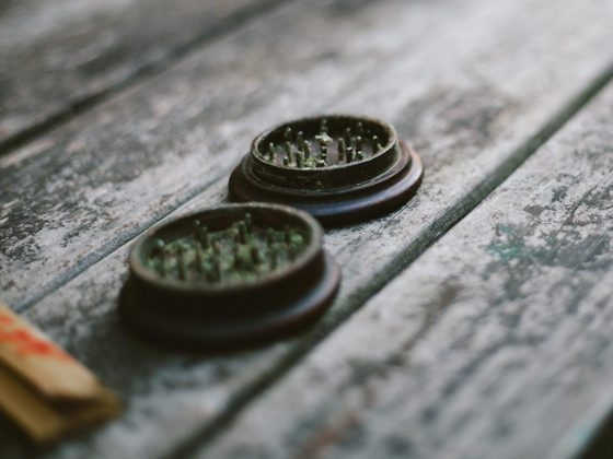cannabis in a grinder on a bench
